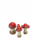 Ceramic toadstool, 3 motifs, height 8cm, red